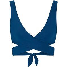Karla Colletto Wrap bikini top ($288) ❤ liked on Polyvore featuring swimwear, bikinis, bikini tops, blue, slimming bikinis, wrap bikini top, wrap swimsuit top, blue bikini top and underwire bra