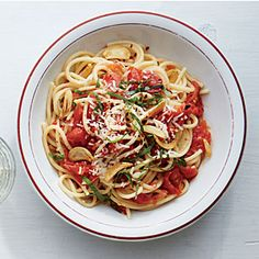Spaghetti with Toasty Garlic Tomato Sauce | Cooking Light Quick simple recipe, will be awesome when the garden is overflowing w tomatoes. J thought it needed a protein, I think it'd be filling enough w a salad.