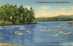 Vintage postcard of the Bathing Beach on Onota Lake in Pittsfield. #Berkshires