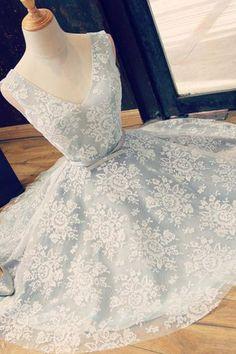 A-Line V-Neck Backless Light Blue Lace Homecoming Dress with Belt PG103