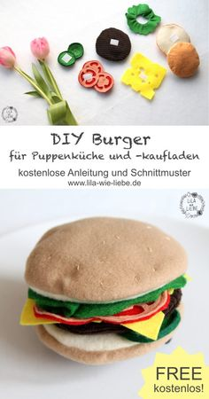 The perfect burger party - Freebook Burger Barrette and Sp .- Die perfekte Burgerparty – Freebook Burger Haarspange und Spielzeugburger DIY burger children& toys for shop and doll kitchen sew yourself - Perfect Burger, Best Homemade Burgers, Healthy Burger Recipes, Burger Party, Felt Play Food, Maila, Food Patterns, Diy Gifts For Kids, Homemade Baby Foods