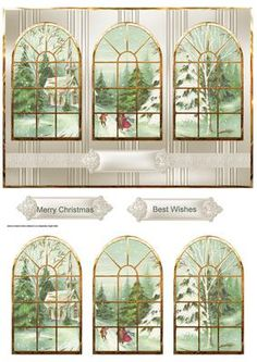 Going to church at Christmas window view on Craftsuprint designed by Angela Wake - Going to church at Christmas, window view card and toppers with sentiment tags - Now available for download!