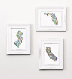 "Set of mini prints, any 3 or more 5x7"" prints, state map art, zentangle designs, destination art, art map prints #statemapillustration #usmaps #displayingart"