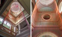Pouring down a grand six-floor stairwell in the west wing of the V&A is Studio Glithero's installation The Green Room, featuring a shower of neon cords. Created in collaboration with watch brand Panerai, the immersive and kinetic piece moves with a motor, resemble the revolving action of a clock.