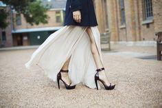 OMG, the shoes!!     Juliette Hogan Silk Shirt Dress, Jolie & DeenCoat,Jeffrey Campbell Heels, (image:garypepper)