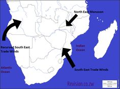 A map showing ocean currents in Southern Africa | notes for