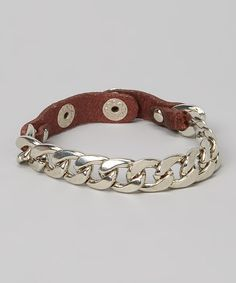 This I Love Accessories Brown & Silver Leather Chain Wrap Bracelet by I Love Accessories is perfect! #zulilyfinds
