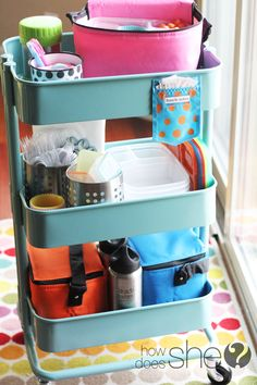 Lunch packing station for all your lunch box supplies. Organized and ready when . - Ikea DIY - The best IKEA hacks all in one place Back To School Organization, Home Organization Hacks, Kitchen Organization, Organization Ideas, Storage Ideas, Ikea Raskog Cart, Ikea Cart, Chariot Ikea, Ikea Hacks