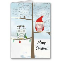 Owls Christmas Card