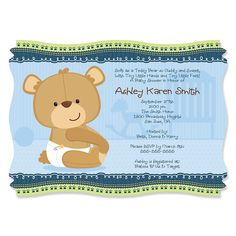 Baby Boy Teddy Bear - Personalized Baby Shower Invitations…