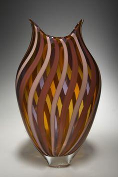 Mauve/Amber Foglio: David Patchen: Art Glass Vessel | Artful Home