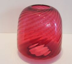 Antique Cranberry Swirl Glass Shade for Hanging Light Fixture 4.25 Inches Collar by okanaganvintage on Etsy