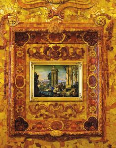 """In 1755 the Empress Elizabeth decided that the room should be moved from the Winter House to Tsarskoye Selo, or """"Czar's Village"""", a summer residence of the court. The panels were to be installed in the Catherine Palace room had to be larger. It was magical and fabulous with six tones of amber and other stones – the panels covered as much as 180 square feet of royal walls and were sparking with all shades of yellow – lemon, pear, honey, mustard, apricot, golden, saffron yellow and many…"""