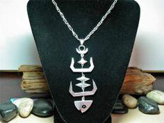 """Vtg TAXCO Sterling Silver Fish Bones Skeleton Pendant Necklace 28"""" Long Signed"""
