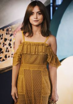 British actress Jenna Coleman wearing a Burberry dress for Burberry's art, craftsmanship and personalisation event