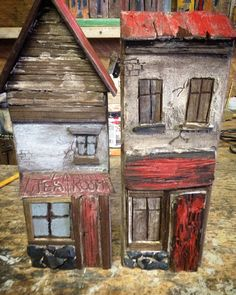 Rustic little wood houses made by Greytimberwolf_crafts @etsy.com/ca