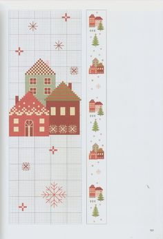 Christmas Cross, Xmas, Cross Stitch House, Cross Stitch Patterns, Projects To Try, Workshop, Embroidery, Knitting, Holiday Decor