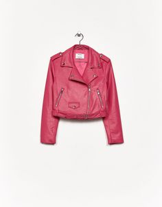 Discover this and many more items in Bershka with new products every week Pu Jacket, Leather Jacket, Cute Coats, Pink Leather, Autumn Winter Fashion, What To Wear, Swimsuits, My Style, Outfits
