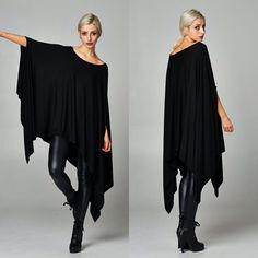 """Contemporary"" Loose Poncho Tunic Top Loose poncho tunic top. Available in black, olive, army green, steel. This listing is for the BLACK. Brand new. One size fits most (XS to XXL). NO TRADES DON'T ASK. Bare Anthology Tops"