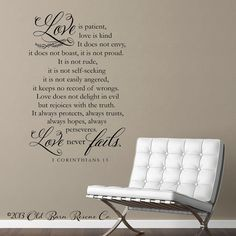 Vinyl Wall Decal - Love is patient, love is kind...1 Corinthians 13 home decor