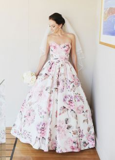 10 COLORED WEDDING DRESSES  FOR THE NON TRADITIONAL BRIDE: #9. For a feminine feel, you can't beat floral.
