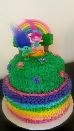 Trolls Cake Made At Shoprite With Whipped Icing Bought