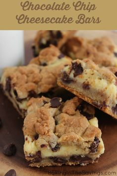 Chocolate Chip Cheesecake BarsDid someone say chocolate and cheesecake? These Chocolate Chip Cookie Cheesecake Bars are just what the doctor ordered for this busy mom. There is always room for a yummy dessert, and these definitely hit the spot!