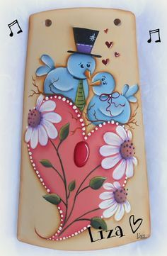 Fan Blade Art, Decoupage, Tole Painting Patterns, Cute Disney Drawings, Summer Painting, Painted Gourds, Art Decor, Decoration, Country Paintings