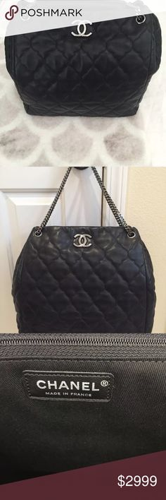 Chanel Grand Shopping Tote Limited edition Chanel Grand shopping Tote in black lambskin. No scratches. Only carried a handful of times. Always kept in duster bag and box. Comes with all original packaging, tags, box. Purchased from the Chanel boutique in South Coast Plaza. In mint condition. CHANEL Bags Totes