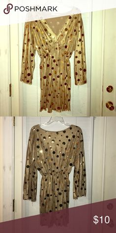 Ladies Glam Shirt Gold with Shiny gold balls! Plus Size! Make an Offer Tops Blouses