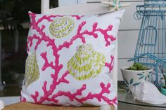 Beach Decor Coral and Seashell Pillow  18x18 by ByTheSeashoreDecor, $44.00