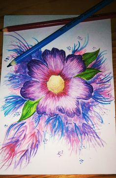 Watercolour pencil flower