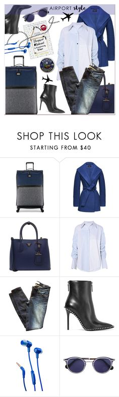 """""""Airport Style Travel"""" by loveroses123 ❤ liked on Polyvore featuring Ted Baker, Sentaler, Prada, STELLA McCARTNEY, Marc by Marc Jacobs, Alexander Wang, JBL and airportstyle"""