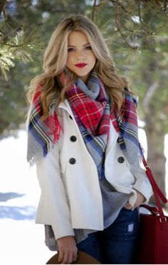 Winter white coat and gorgeous plaid scarf.