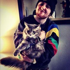 Mac Miller and a cat