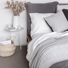 Soft layered grey bedroom. Styling and photography by Justine Ash