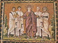 Basilica di Sant'Apollinare Nuovo, Ravenna. Mosaici dell'inizio del VI secolo. Moltiplicazione dei pani e dei pesci. Il periodo di Teodorico