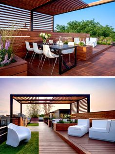 12 Ideas For Including Built-In Wooden Planters In Your Outdoor Space // The built-in wooden planters on this rooftop space, separate the dining area from the lounge area.