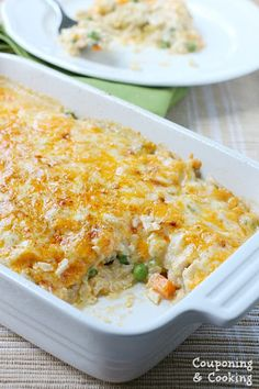 This Cheesy Chicken & Brown Rice Casserole is the perfect week night dish. Veggies, brown rice, chicken and a creamy sauce all topped with melty cheese. No cream of anything or canned ingredients! Rice Casserole, Casserole Recipes, Food Dishes, Main Dishes, Chicken And Brown Rice, Chicken Rice, Cheesy Chicken, Chicken Recipes, Chicken Meals