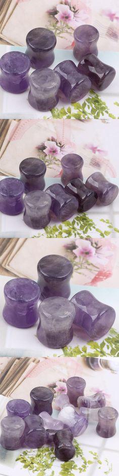 2pcs Purple Natural Flesh Tunnels Stone Ear Plugs Ear Gauges Ear Expander body piercing tunnels Jewelry