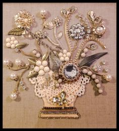 Lovely neutral shades...pearls, rhinestones