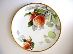 "Limoges Lanternier Peaches Hand Painted Plate / 8.5"" Cabinet Plate with Gold Border / c. 1890 / Signed by Picabosplace on Etsy"