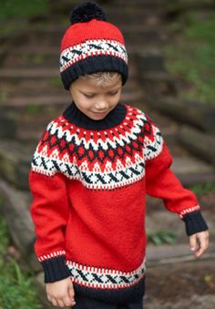 Nordic-inspired colorwork makes this stylish set a stunning addition to kids' cold-weather wardrobes. Shown in Patons Classic Wool DK Superwash.