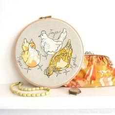 Embroidered Hoop Art - Rose, Joyce  Myrtle chickens textile artwork in yellow - 8 hoop by ThreeRedApples (24.00 GBP) http://etsy.me/137t0KO