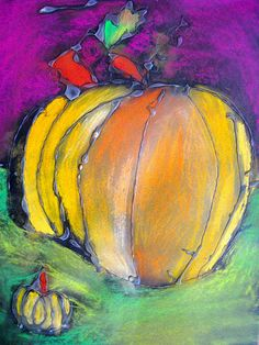 glue and chalk pastel pumpkins