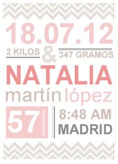 Natalicio. Láminas de nacimiento personalizadas por Scraparizate, €6.00