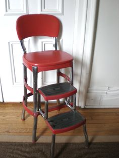 Red Cosco Kitchen Chair with Step Stool by GreenZebre on Etsy