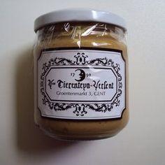 Tierenteyn-Verlent - Gent, Oost-Vlaanderen, Belgium. Mustard jar from famous mustard shop in Ghent, Belgium. It's very organic because it has no preservatives at all.