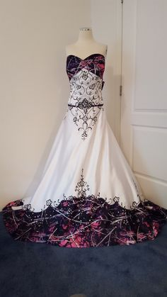 ANITA wedding gown, with Muddy Girl camo as the accent 'color'.  White satin with black embroidery.