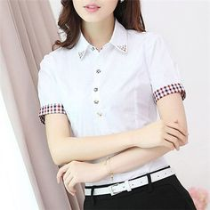 Blouses & Shirts Summer Women Loose Plaid V-neck Doll Tops Shirts Tops Students Blouse Short Sleeve Diversified In Packaging